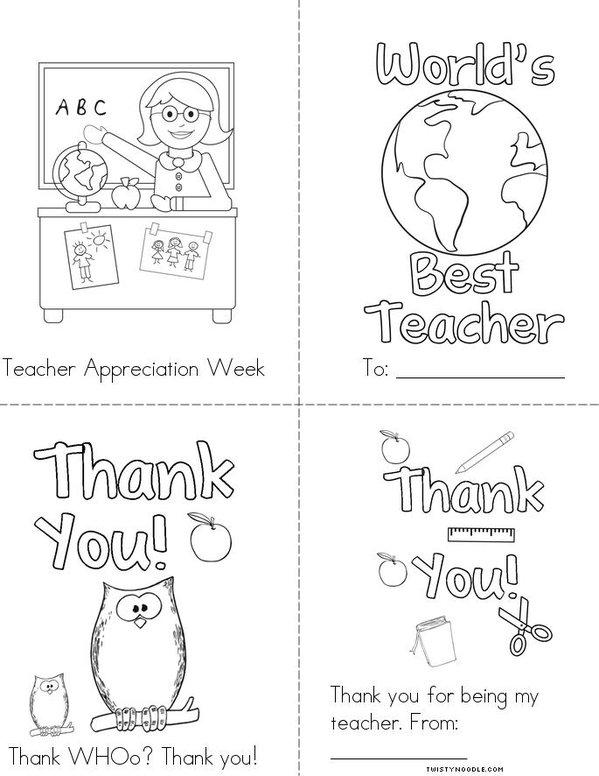 Teacher Appreciation Mini Book