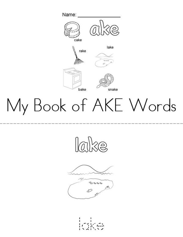 My Book of AKE Words Mini Book - Sheet 1