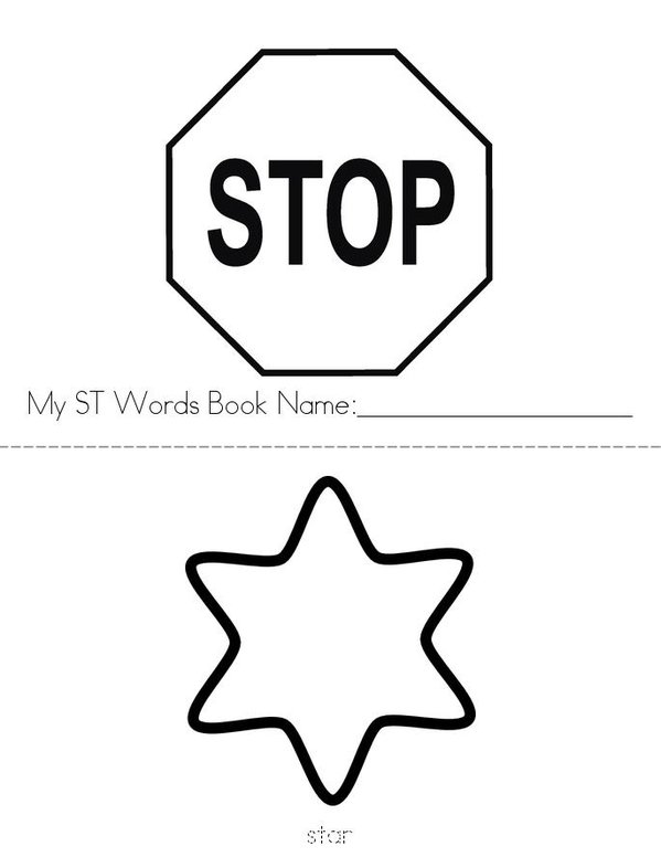 ST Words Mini Book - Sheet 1