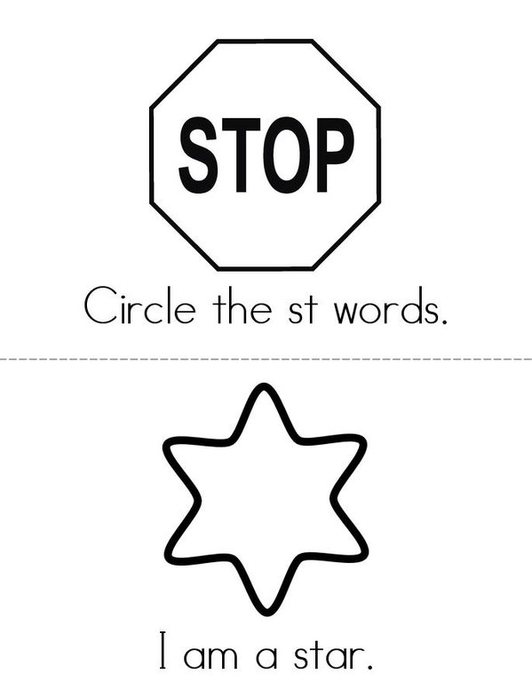 Circle the ST Words Mini Book - Sheet 1