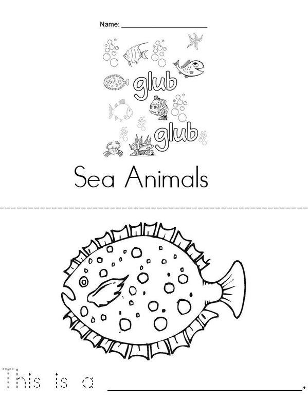 Sea Animals  Mini Book - Sheet 1