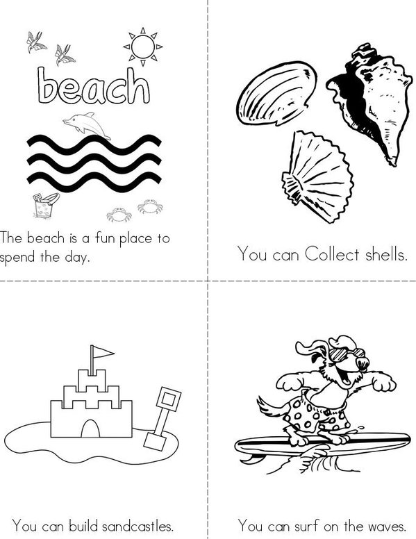 Beach Fun!! Mini Book - Sheet 1