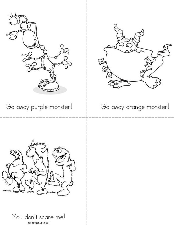 Go Away Monster! Mini Book - Sheet 2