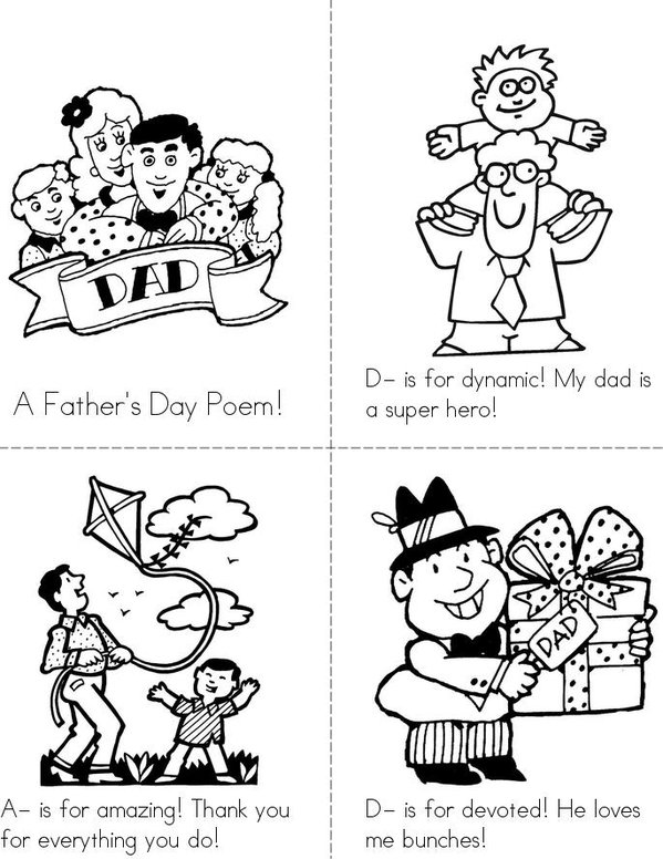Father's Day Poem! Mini Book - Sheet 1