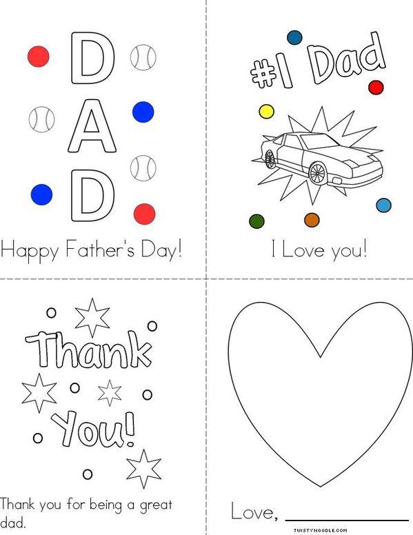 I Love you, Dad Mini Book
