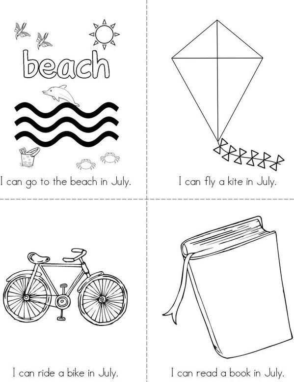 I Love July! Mini Book - Sheet 1