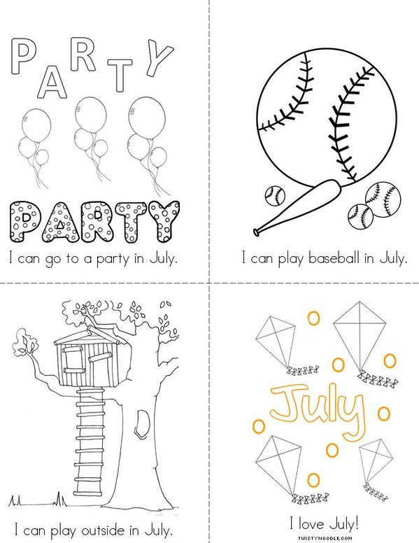 I Love July! Mini Book - Sheet 2