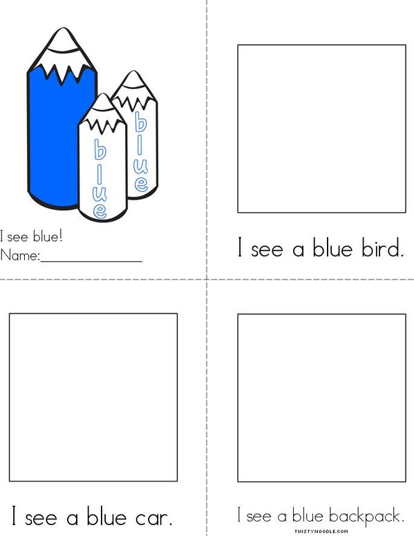 Draw pictures in the boxes. Blue Reader Mini Book