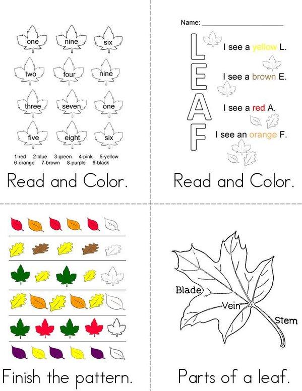 My Leaf Book Mini Book - Sheet 2