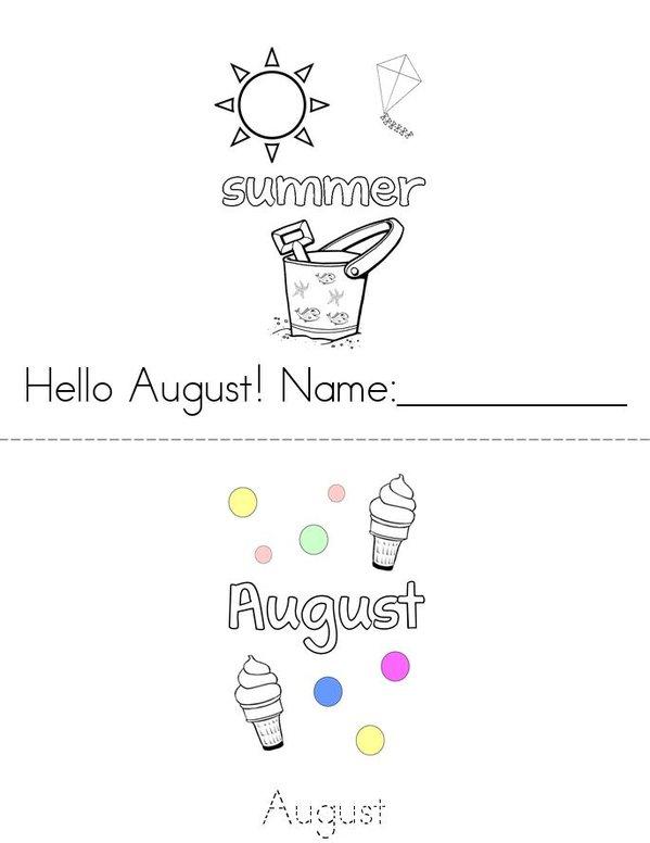 August Mini Book - Sheet 1