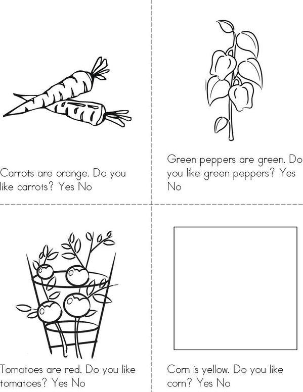 Do you like veggies? Mini Book - Sheet 1