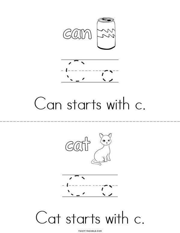 C Words Mini Book - Sheet 2