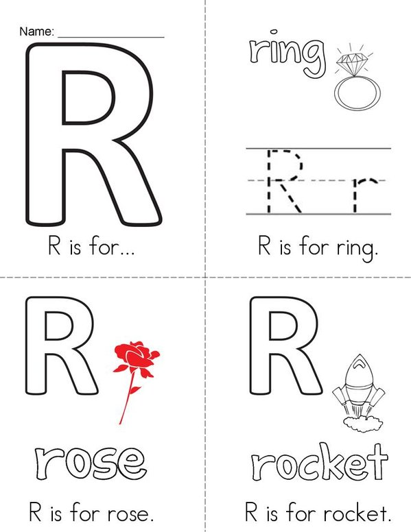 R is for... Mini Book - Sheet 1
