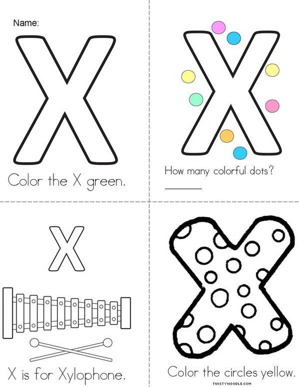 My Colorful Letter X Mini Book