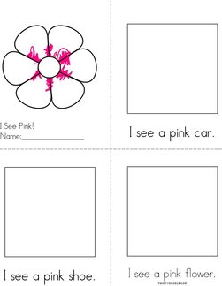 Draw pictures in the boxes. Pink Reader Book