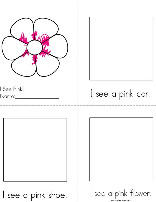 Draw pictures in the boxes. Pink Reader Mini Book