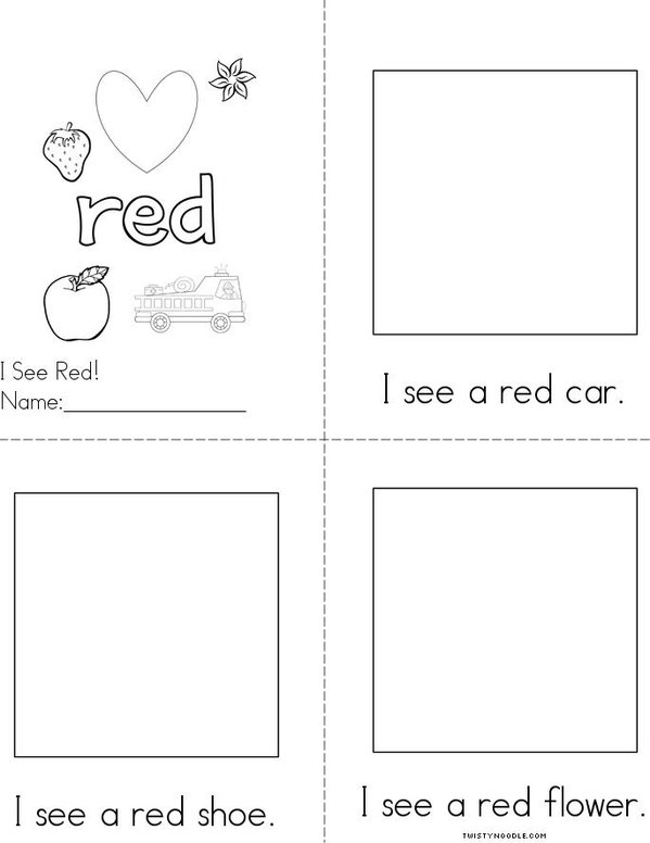 Draw pictures in the boxes. Red Reader Mini Book