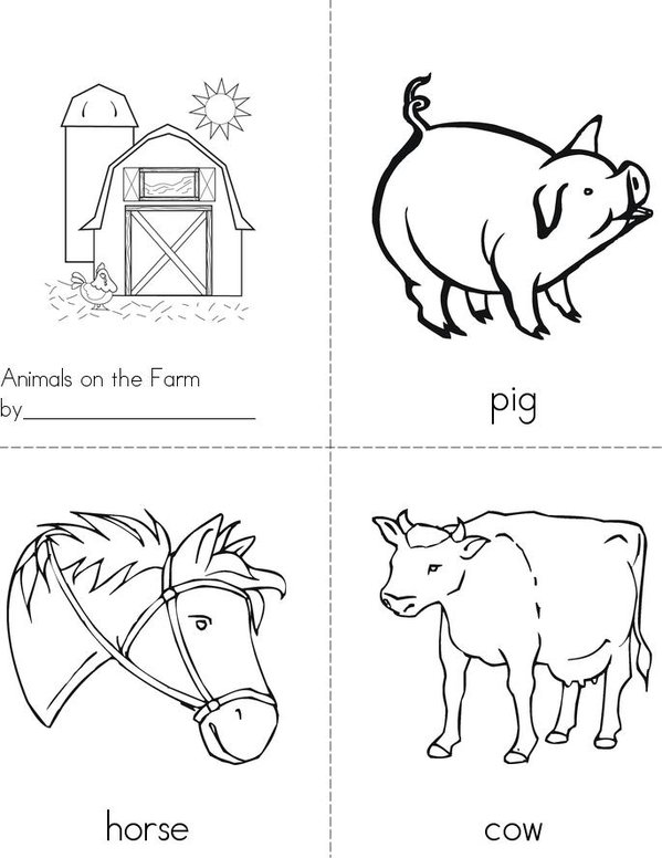Animals on the Farm Mini Book - Sheet 1