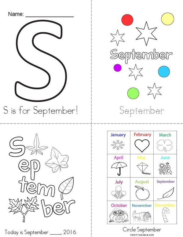 S is for September! Mini Book