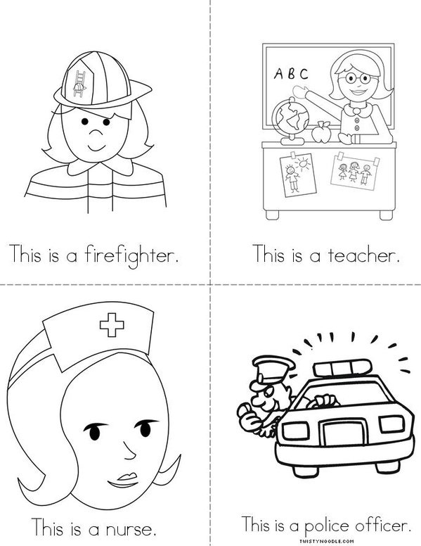Community service coloring pages ~ Community Helpers Book - Twisty Noodle