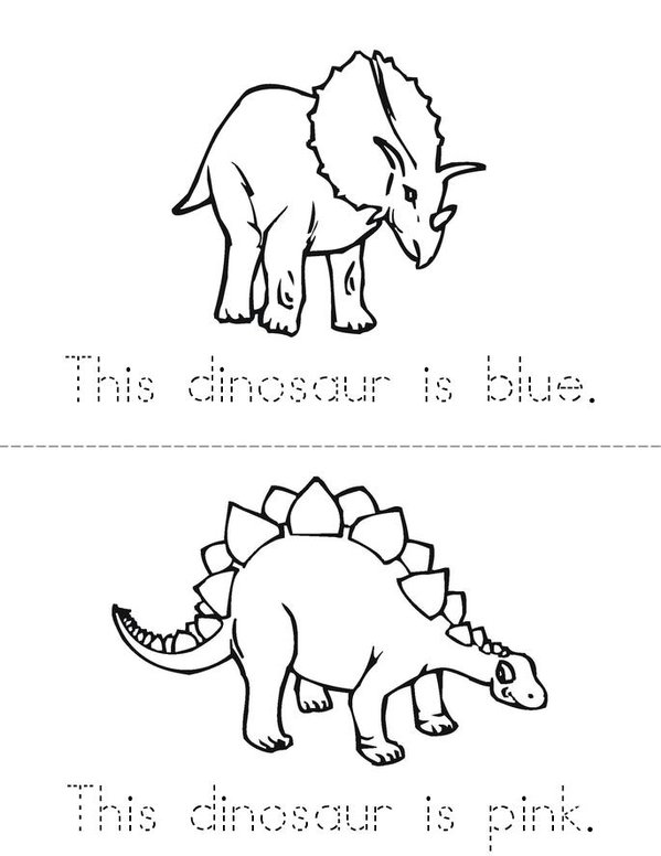 Dinosaur Colors Mini Book - Sheet 2