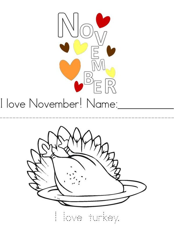 I Love November! Mini Book - Sheet 1