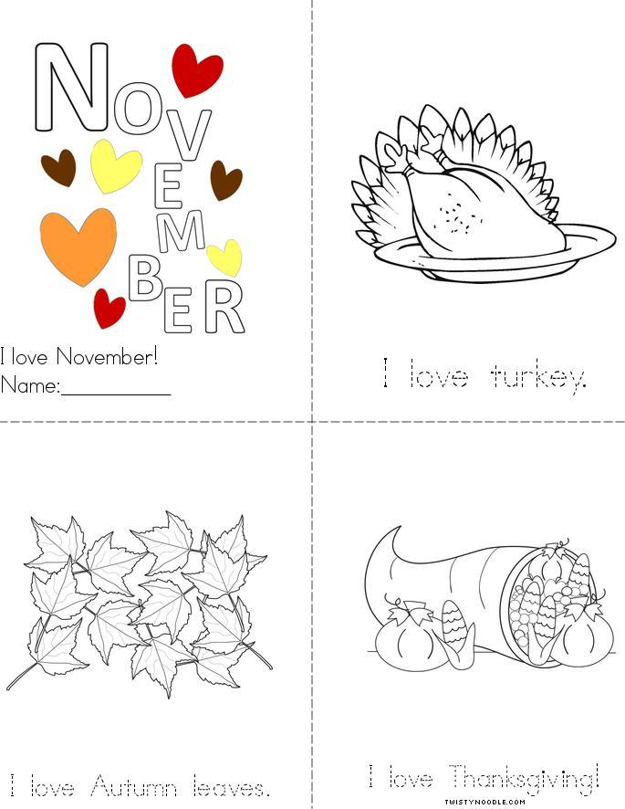 I Love November Book - Twisty Noodle