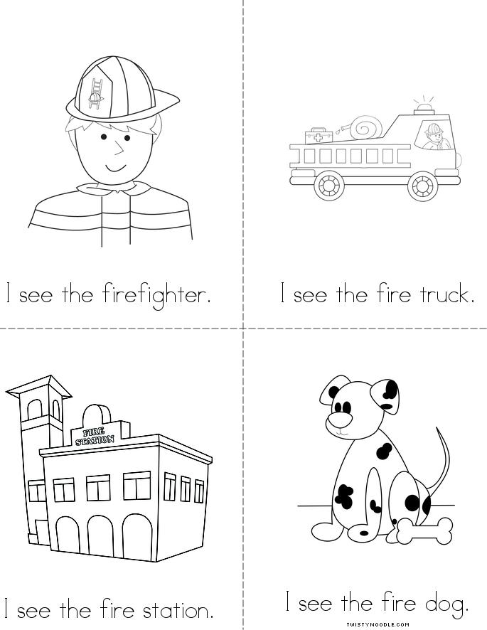 Christmas fire safety coloring pages ~ I See the Firefighter Book - Twisty Noodle