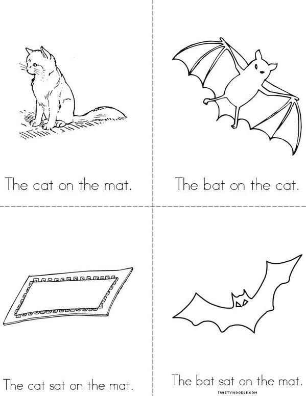 The Cat On The Mat Minibook on Printable Mini Coloring Book
