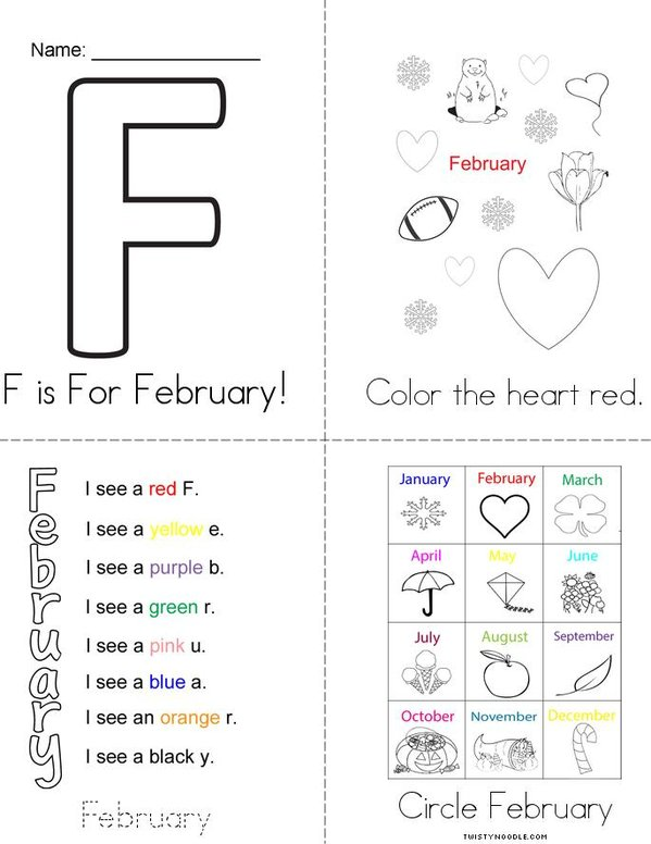 F is for February! Mini Book