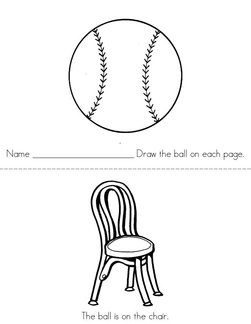 Draw the ball (on, under, in, by, out) Book