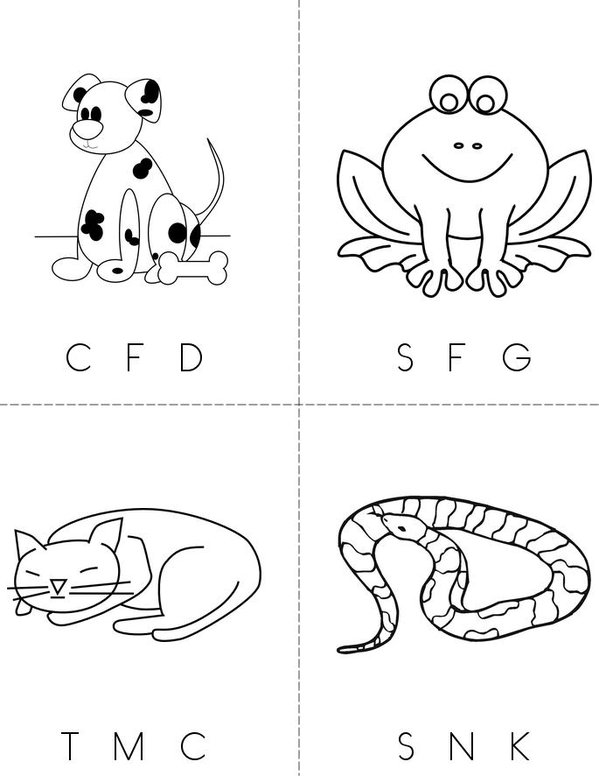 Circle the starting sound (animals) Mini Book - Sheet 1