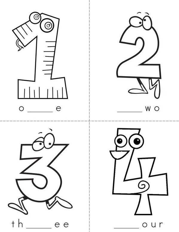 Missing Letters (number words) Mini Book - Sheet 1