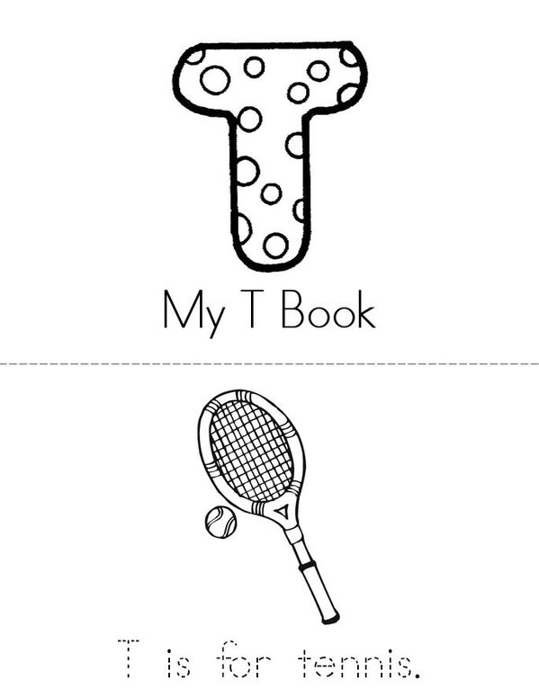 T is for Mini Book - Sheet 1