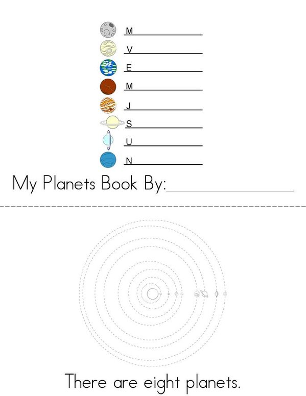 Planets- Fill in the missing letters Mini Book - Sheet 1