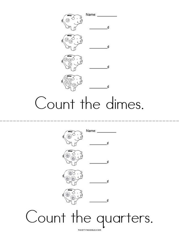 Count the Money Mini Book - Sheet 2