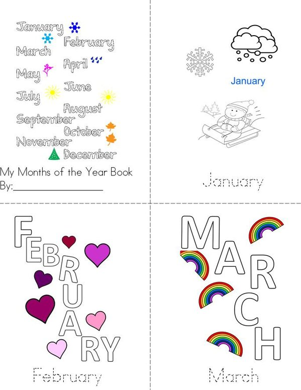 My Months of the Year Book Mini Book - Sheet 1