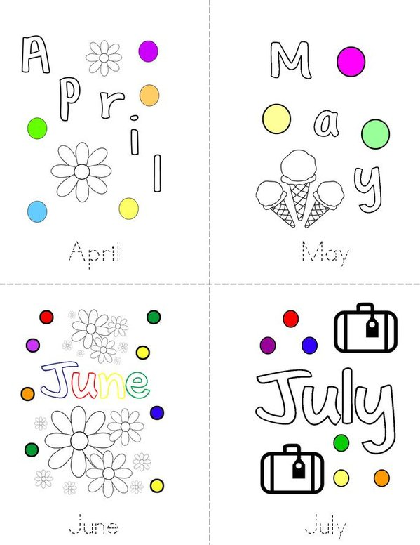 My Months of the Year Book Mini Book - Sheet 2