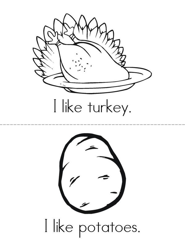 I like Thanksgiving! Mini Book - Sheet 1