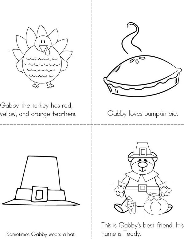 Gabby the Turkey Mini Book - Sheet 1