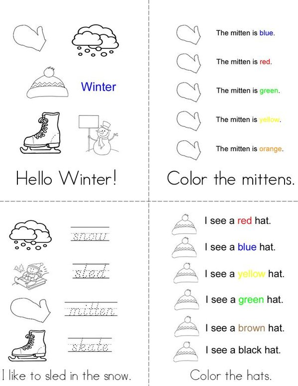 Hello Winter! Mini Book - Sheet 1