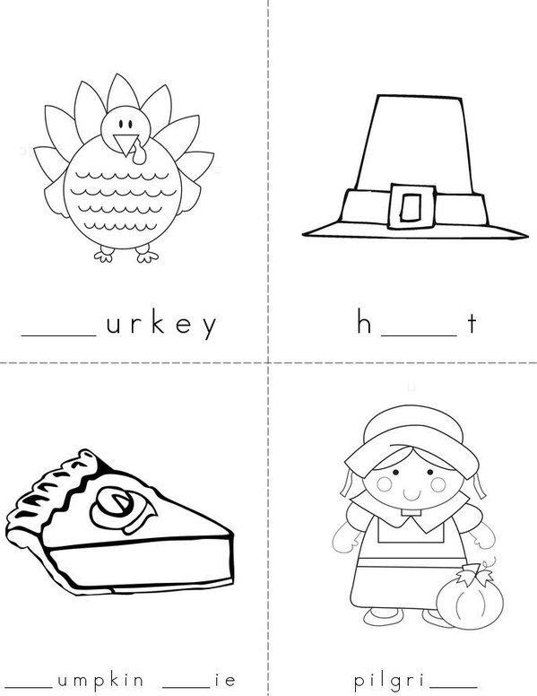 Thanksgiving Missing Letters Mini Book - Sheet 1