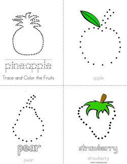 Trace and Color the Fruits Book