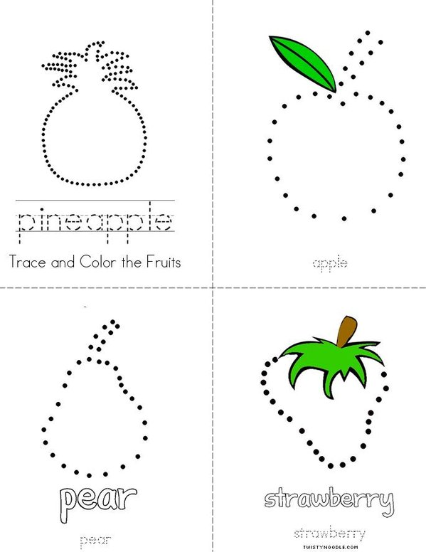 Trace and Color the Fruits Mini Book