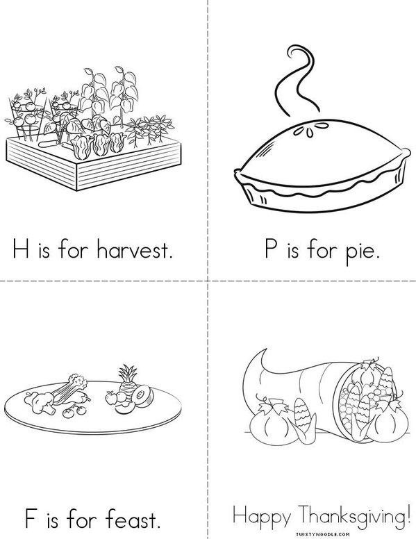 ABC's of Thanksgiving  Mini Book - Sheet 2