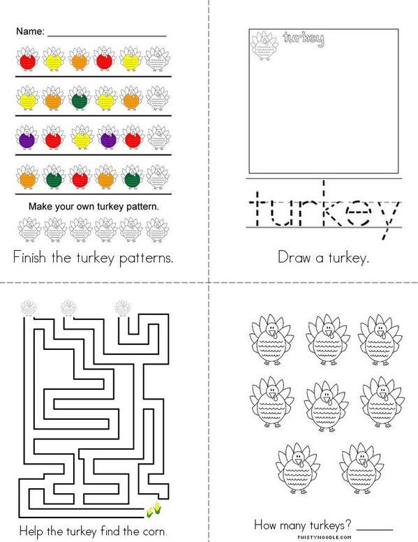 Turkey Activity Book Mini Book