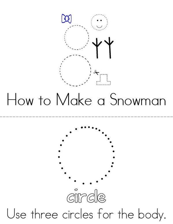 How to make a snowman Mini Book - Sheet 1