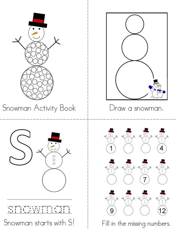 Snowman Activity Book Mini Book - Sheet 1