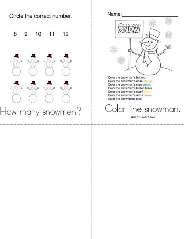 Snowman Activity Book Mini Book - Sheet 2