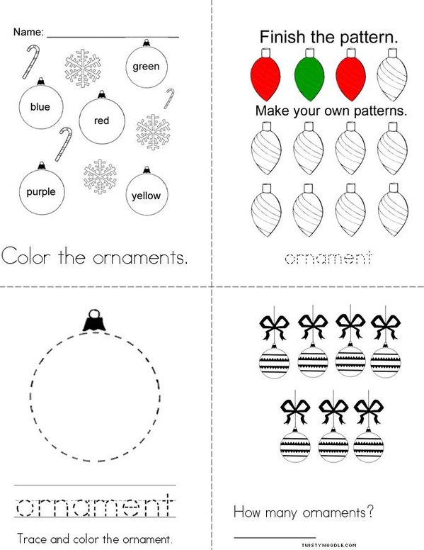 Ornament Activity Book Mini Book